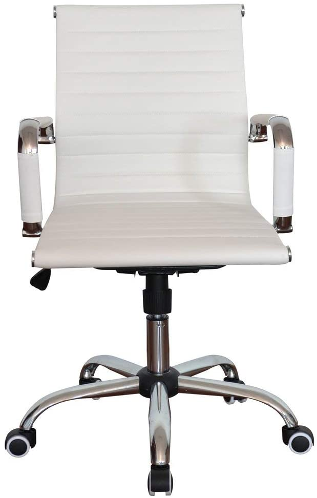 Ribbed Black Pleather Classic Executive Medium Back Chair for Home and Office (White, Double)