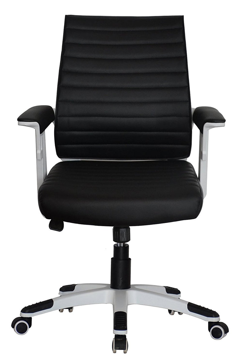 Executive Contemporary Office Chair - Black vegan leather seat - Ergonomic comfort cushion - US Office Elements