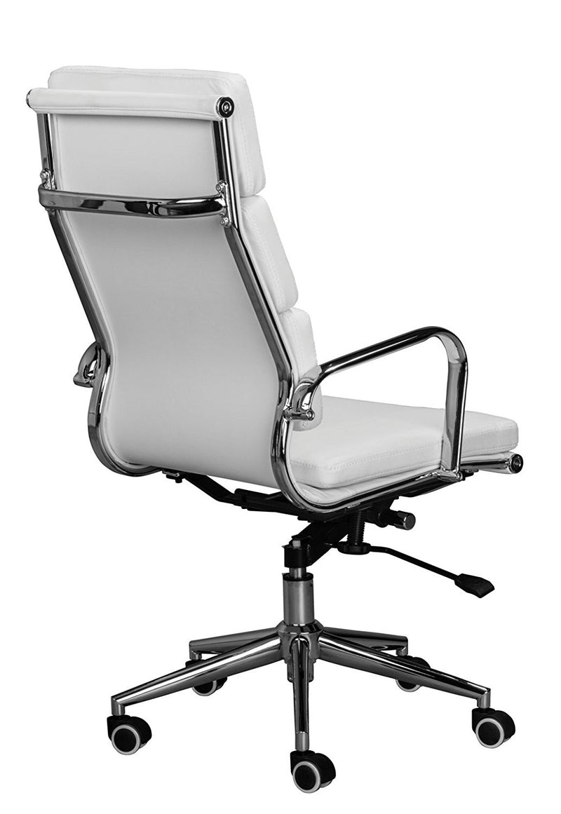 Eames Replica White High Back Cusion Office Chair - Back View