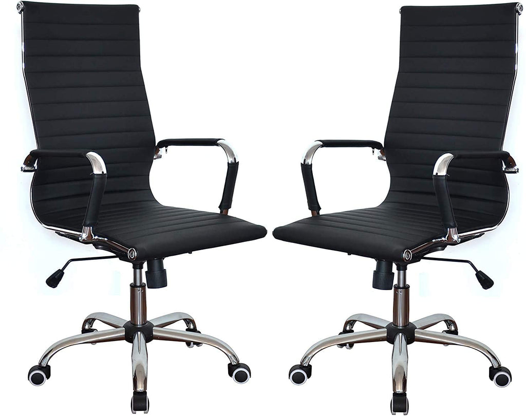 Black Classic Replica High Back Ribbed Ergonomic Office Wheels Chair Leather Swivel & Tilt Adjustable Manager Executive White Chair for Management Boss Office Conference Boardroom Work Task Computer - Set of 2