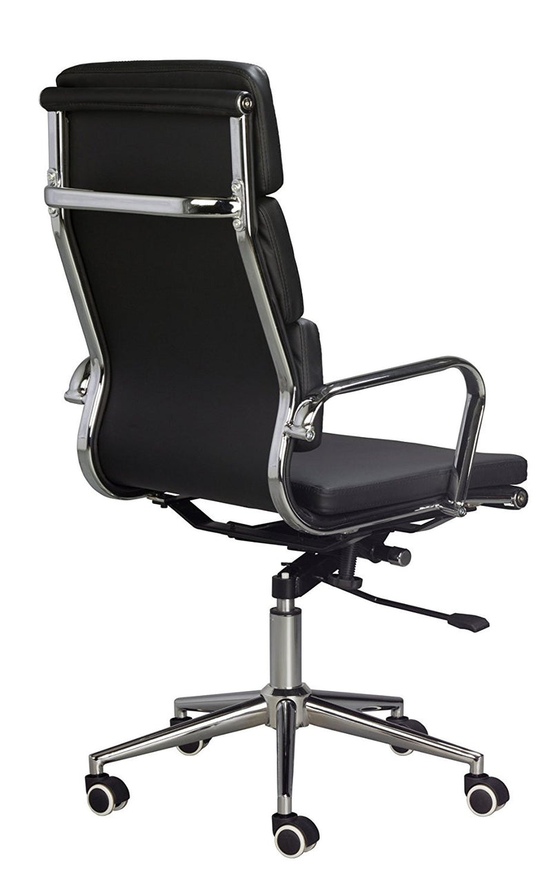 Black Vegan Leather Executive Classic Padded High Back Office Desk Chair - US Office Elements