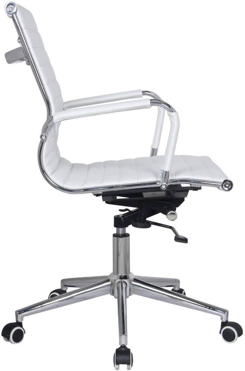 White Modern Managers Task Classic Ribbed Mid Back Office Chair in Vegan Leather
