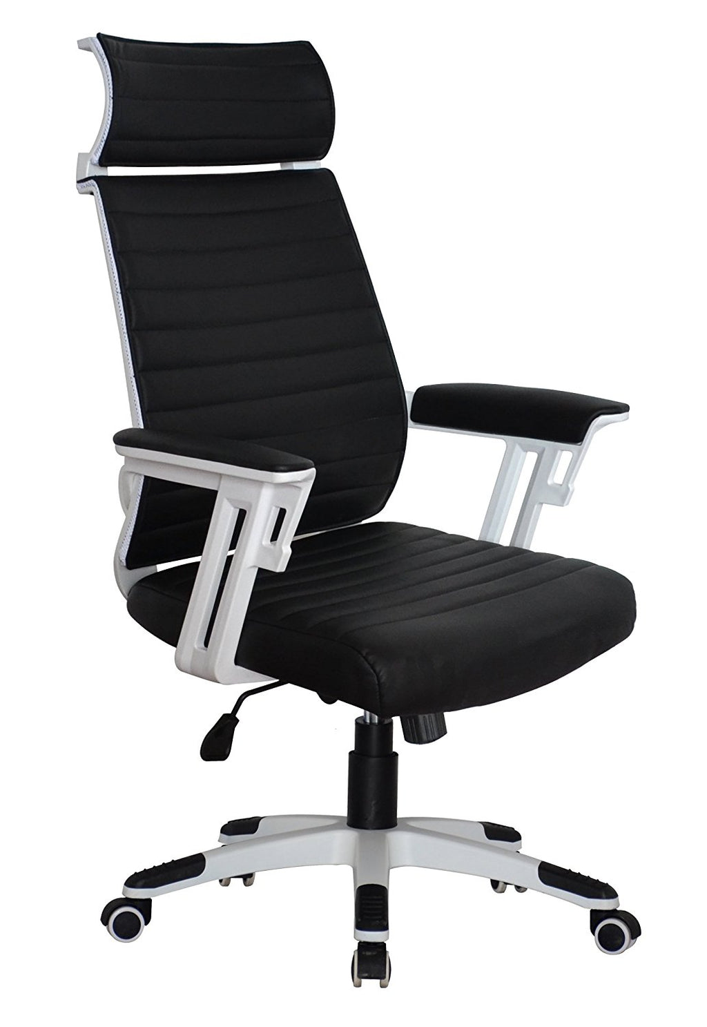 Executive Contemporary Office Chair with attached headrest - Black vegan leather - Ergonomic comfort cushion - US Office Elements