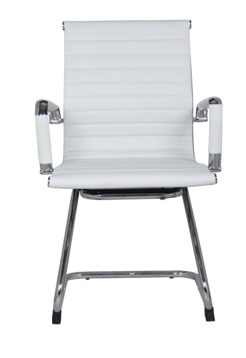 Classic Eames Replica black leather visitor's chair with chrome arms - front view