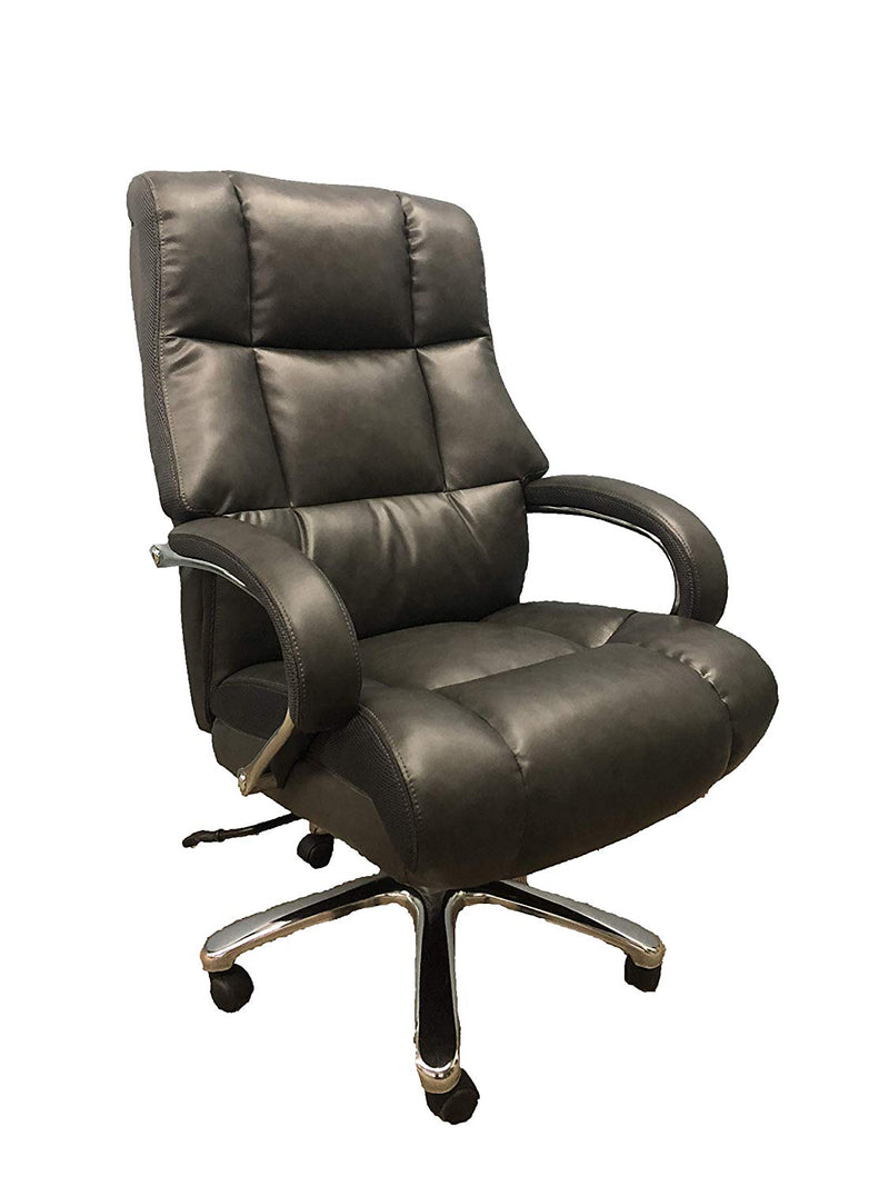 Big And Tall Grey Comfort Executive Office Chair with Extra Thick Padded Chrome Arms - US Office Elements