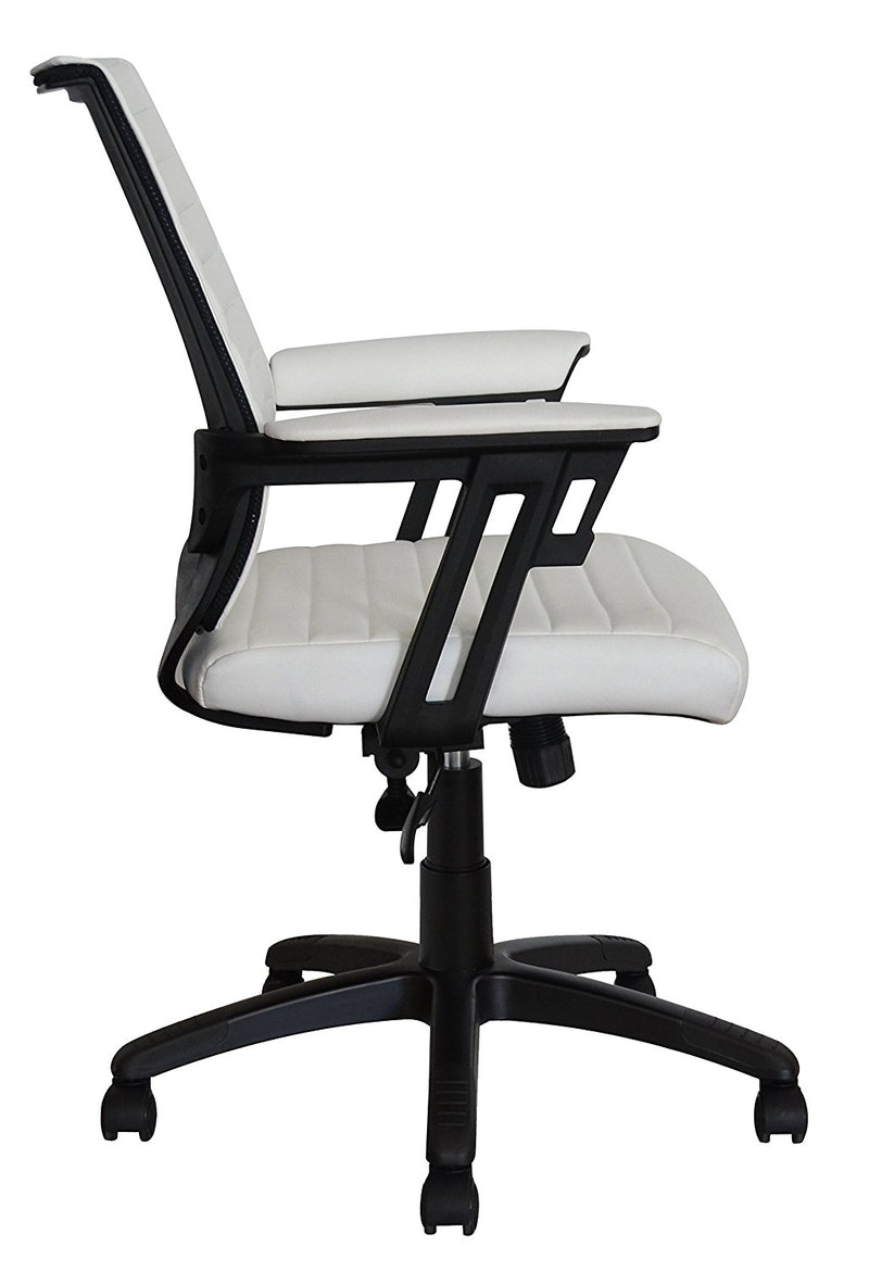 Executive Contemporary Office Chair - White vegan leather seat - Ergonomic comfort cushion - US Office Elements