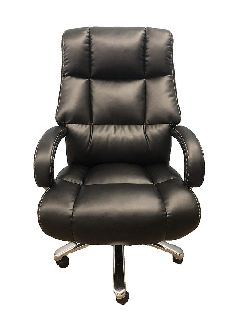 Big And Tall Black Comfort Executive Office Chair with Extra Thick Padded Chrome Arms - US Office Elements