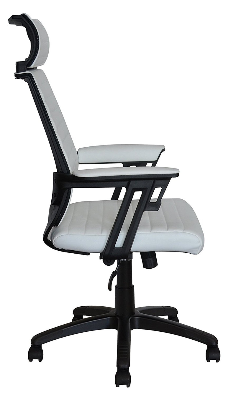 Executive Contemporary Office Chair with attached headrest - White vegan leather seat - Ergonomic comfort cushion - US Office Elements