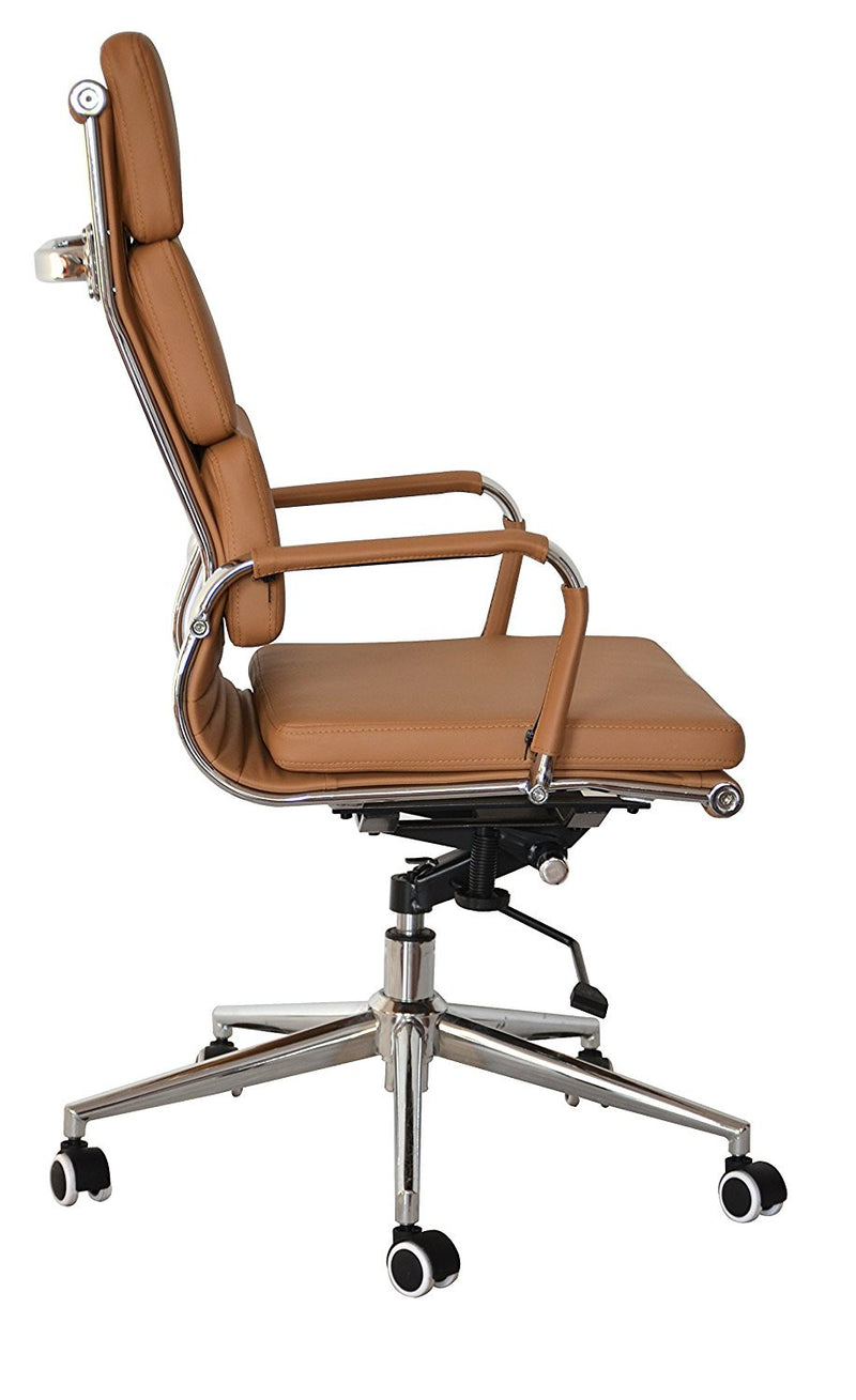 Padded High Back Office Chair - CAMEL Vegan Leather - US Office Elements