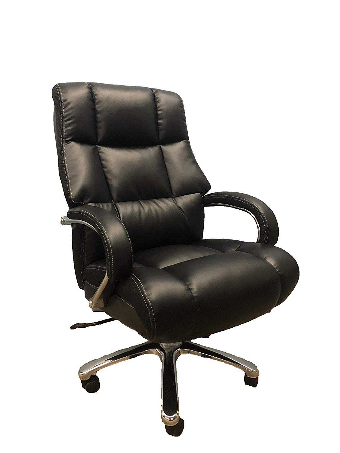 Pleasant Big And Tall Black Comfort Executive Office Chair With Extra Thick Padded Chrome Arms Inzonedesignstudio Interior Chair Design Inzonedesignstudiocom