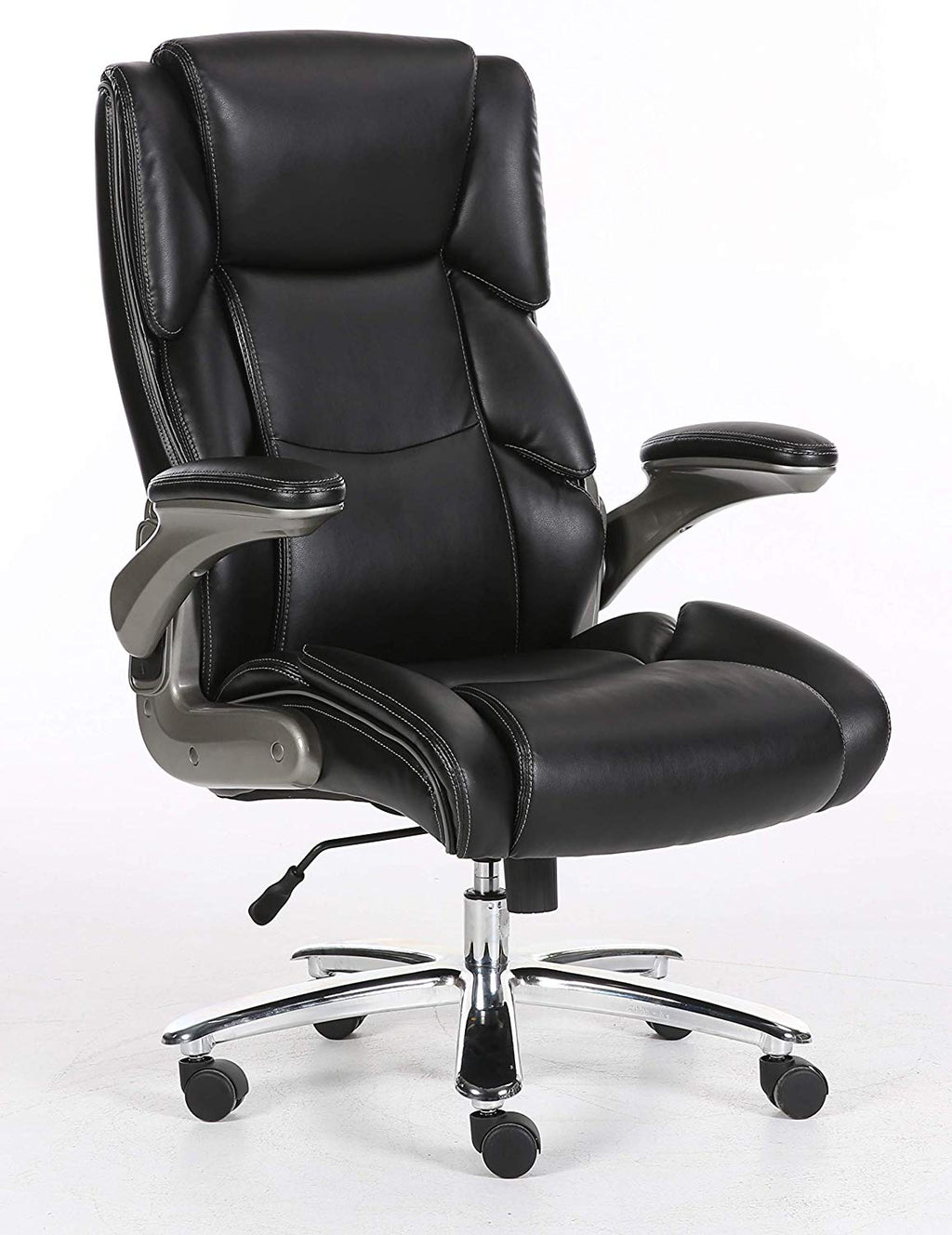 Big And Tall Black Bonded Leather Executive Office Chair With Flip Arms And Extra Thick Padding - US Office Elements