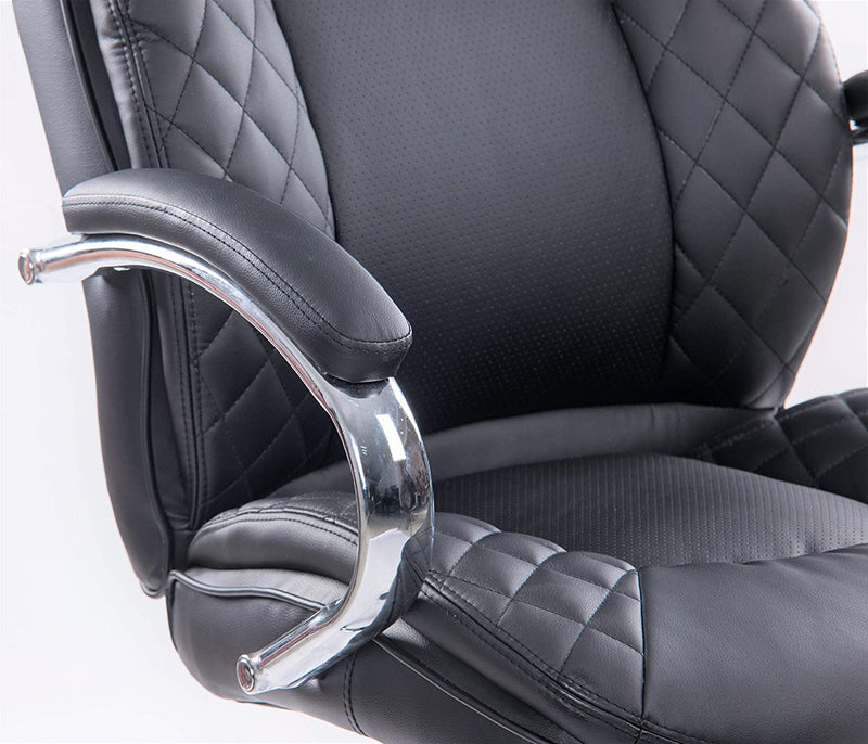 Black Big and Tall Padded PU Leather Heavy Duty Office Chair - Chrome Base and Padded Arms, Supports up to 365lbs Body Weight