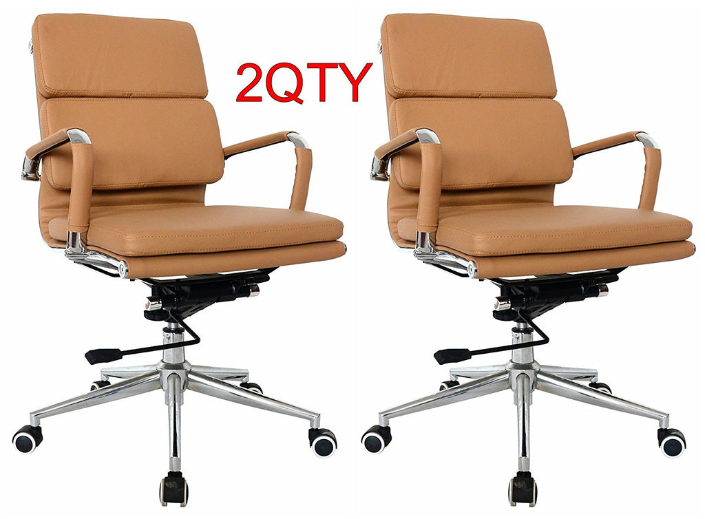 Classic Replica Medium Back Office Chair (Set of 2) - Camel Vegan Leather, thick high density foam, stabilizing bar swivel & deluxe tilting mechanism - US Office Elements