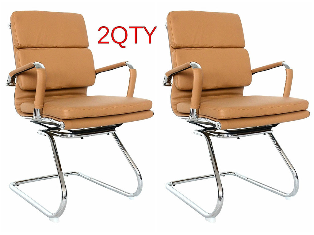 Eames Replica Camel Visitors Chair With High Density Vegan Leather - side view