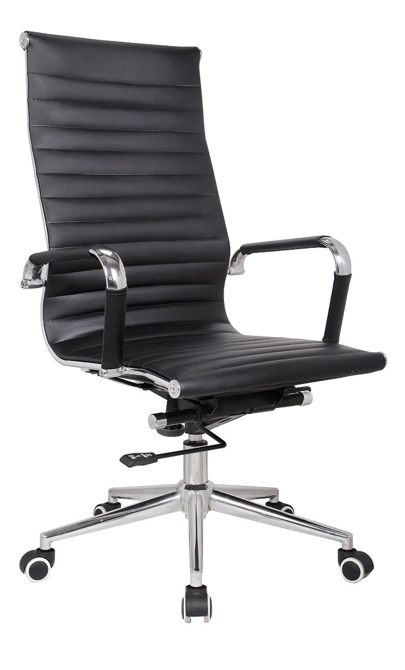 Classic Eames Replica black PU leather high back chair with chrome arms - side view