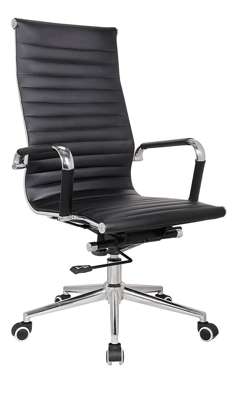 Black Modern Executive Classic Ribbed High Back Office Chair in Vegan Leather - Sold in a box of 2 - US Office Elements