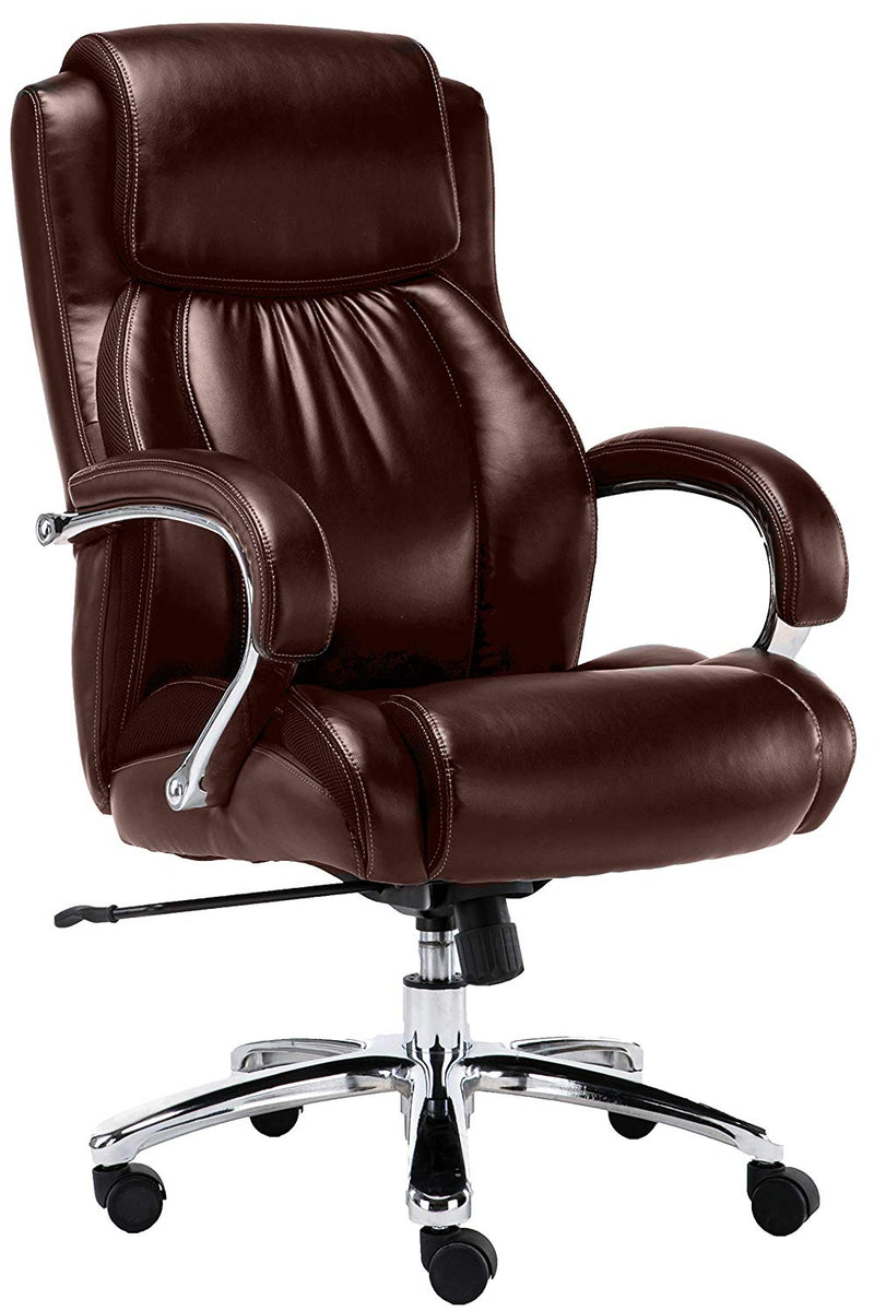 Big And Tall Executive Brown Office Chair With Heavy Duty Shiny Bonded Leather and Extra Padded Chrome Arms - US Office Elements