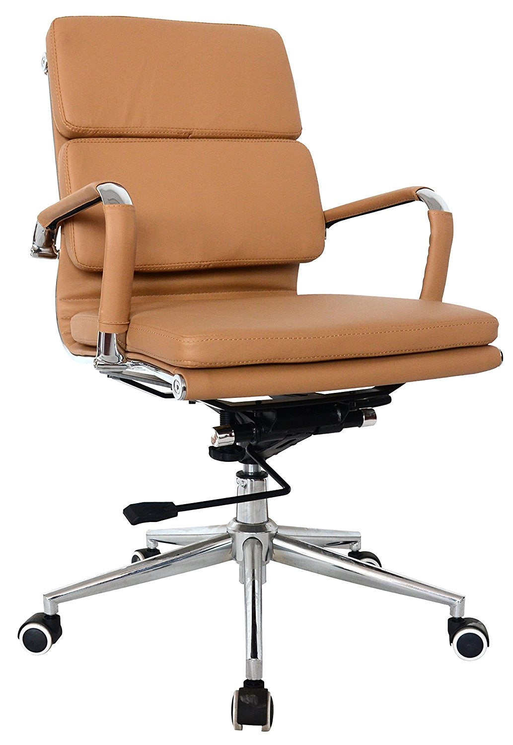 Padded Medium Back Office Chair Camel Vegan Leather Us