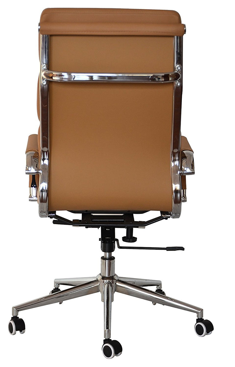Classic Replica High Back Office Chair (Set of 2) - Camel Vegan Leather, thick high density foam, stabilizing bar swivel & deluxe tilting mechanism - US Office Elements