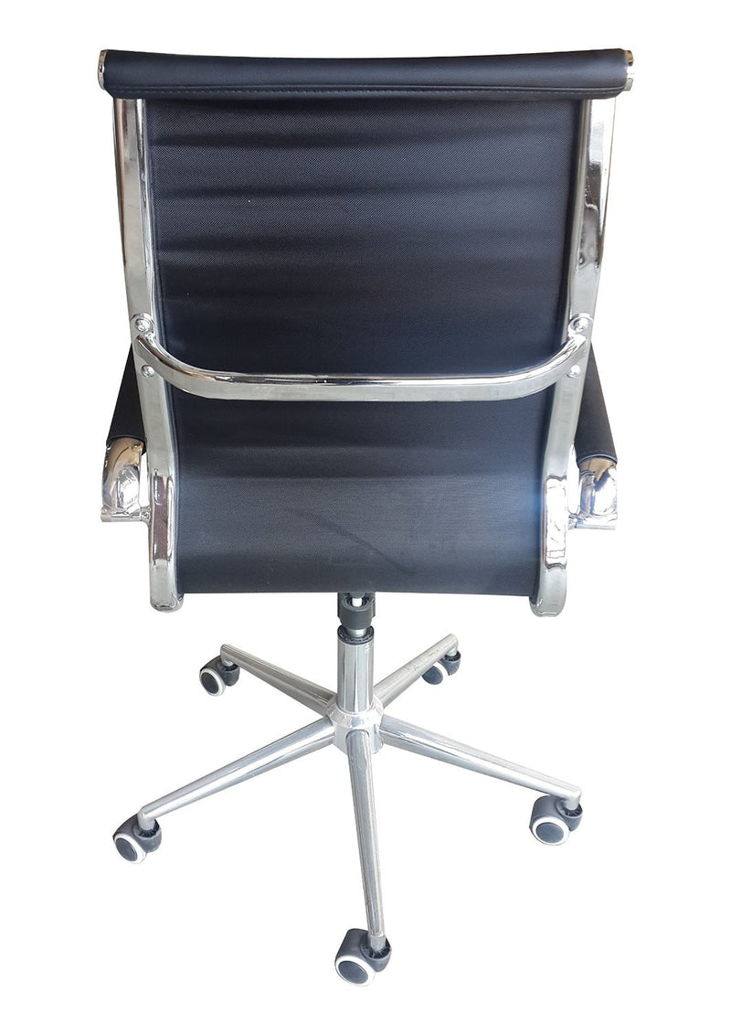 Classic Eames Replica black PU leather high back chair with chrome arms - back view