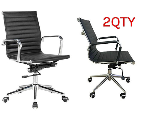 Black Modern Managers Task Classic Ribbed Mid Back Office Chair in Vegan Leather - Set of 2 - US Office Elements