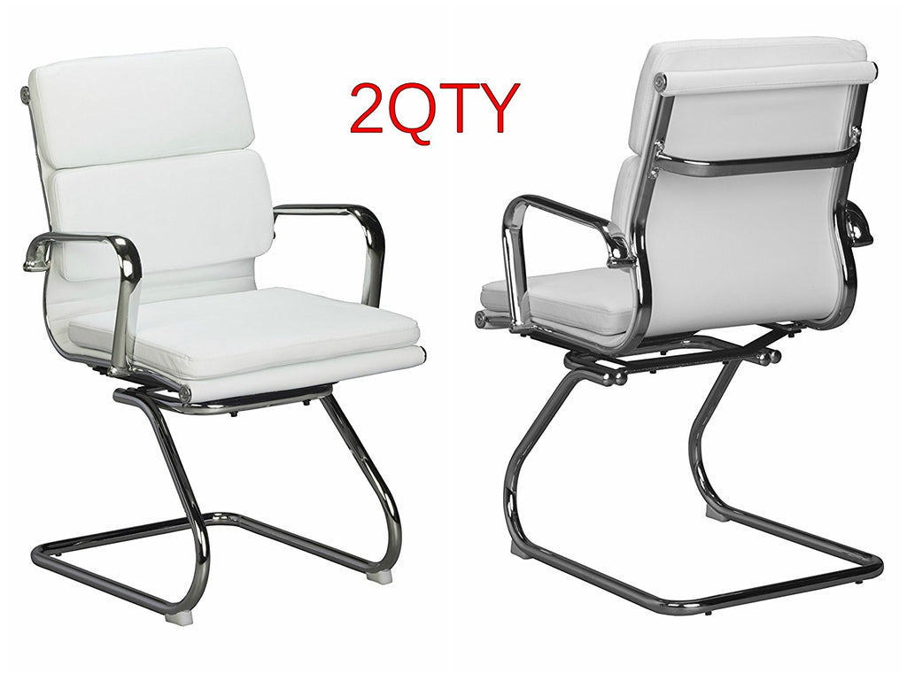 Padded visitors chair - White Vegan leather - Sold in a box of TWO chairs. - US Office Elements