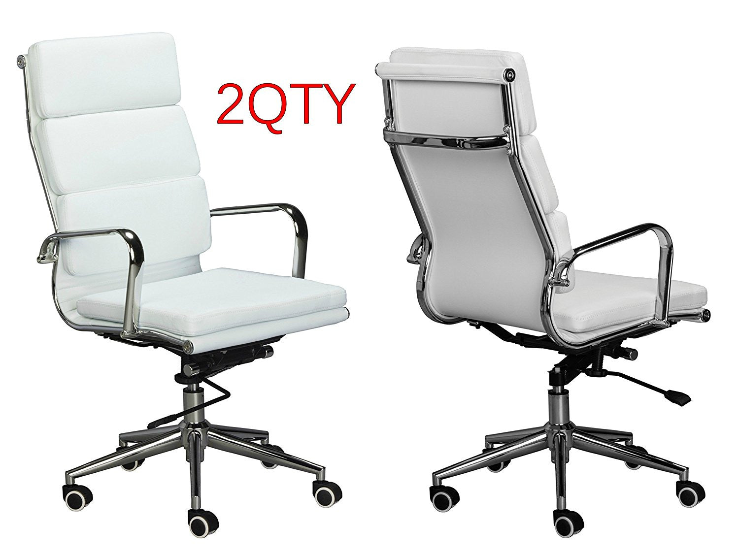 eames replica white pu leather high back cusion office chairs paired