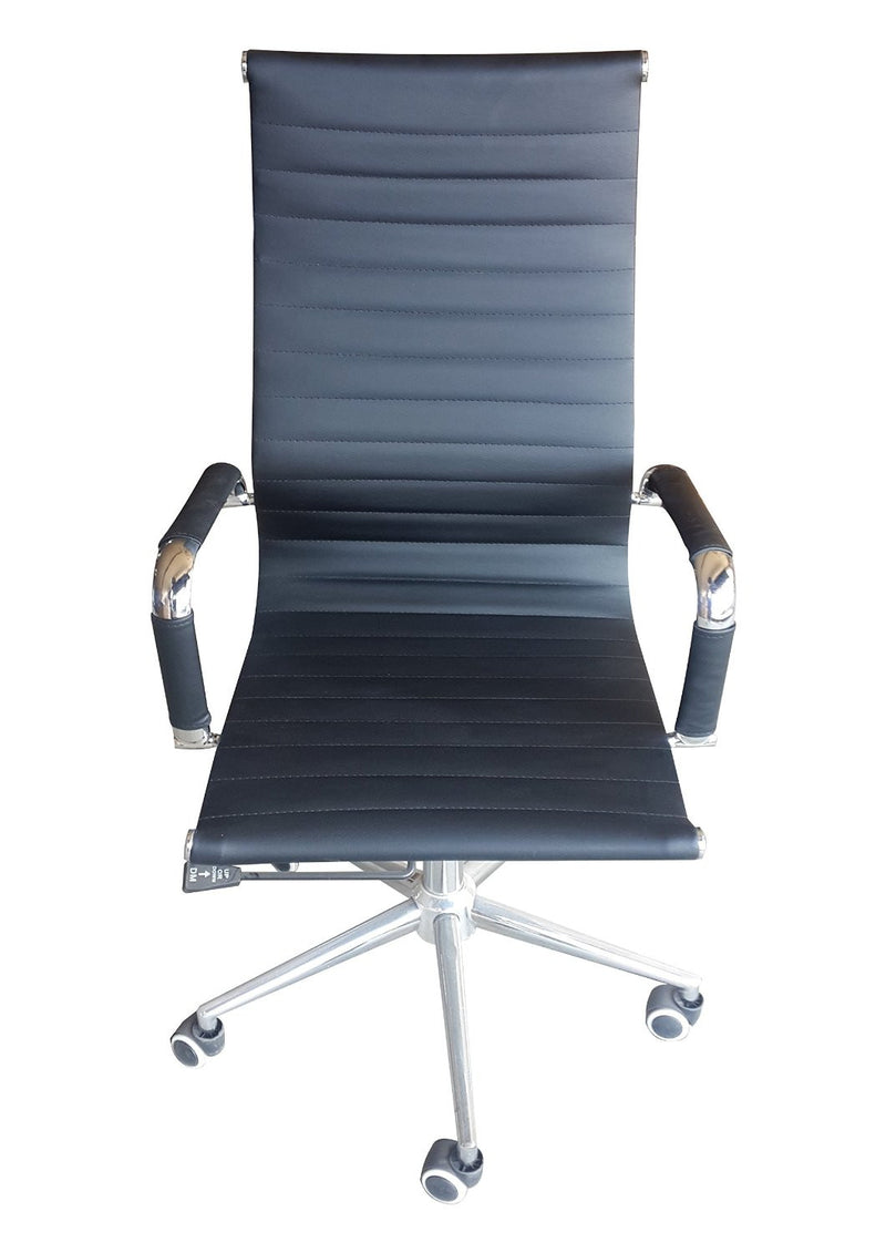 Classic Eames Replica black PU leather high back chair with chrome arms - front view