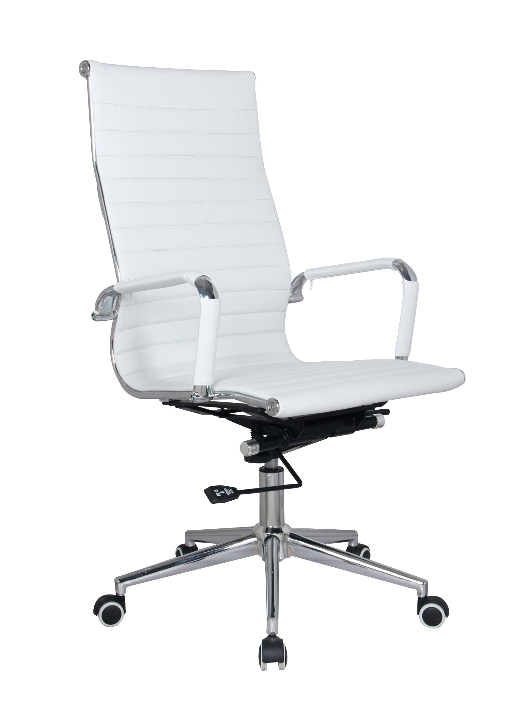 Gentil White Modern Executive Classic Ribbed High Back Office Chair In Vegan  Leather