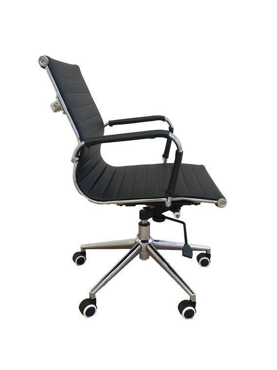 Classic Eames Replica black PU leather chair with matching protective arm sleeves - side view