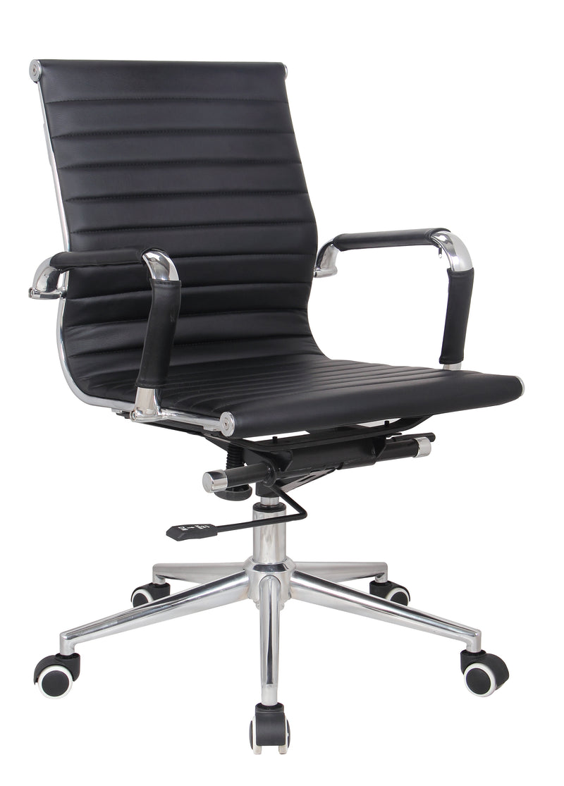 Black Modern Managers Task Classic Ribbed Mid Back Office Chair in Vegan Leather - US Office Elements