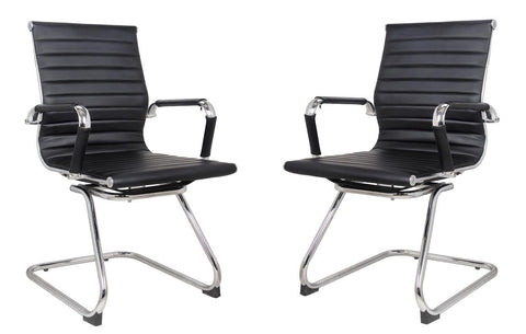 Classic Ribbed visitors chair in BLACK PU leather - Sold 2 per box - US Office Elements