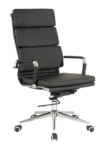 Eames Replica Black PU Leather High Back Cusion Office Chair