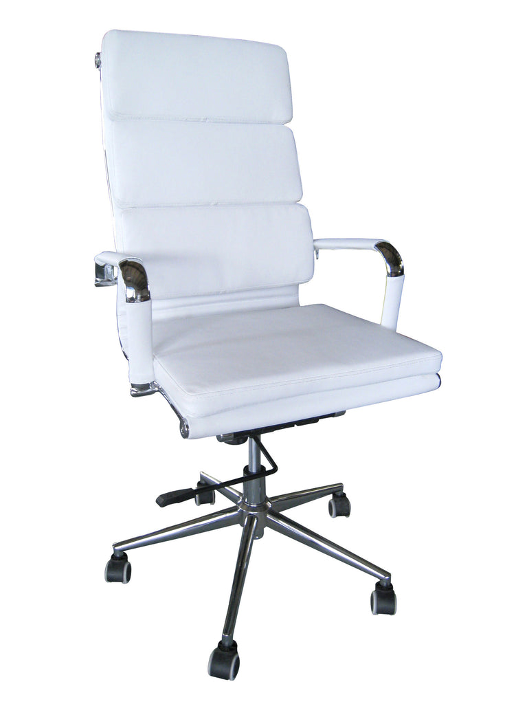 Padded High Back Office Chair - WHITE Vegan Leather