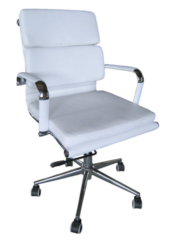 Classic Eames Replica PU Cushion Medium Back White - side view