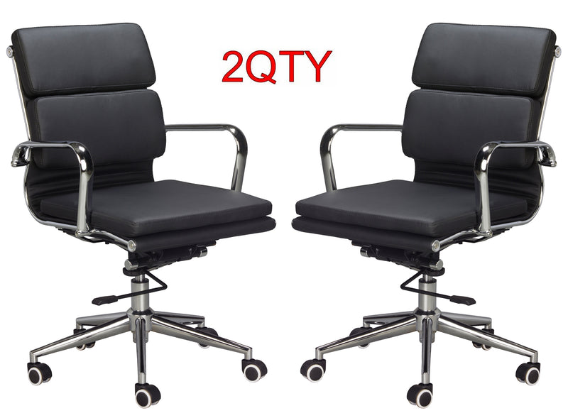 Classic Replica Medium Back Office Chair (Set of 2) - Black Vegan Leather, thick high density foam, stabilizing bar swivel & deluxe tilting mechanism - US Office Elements