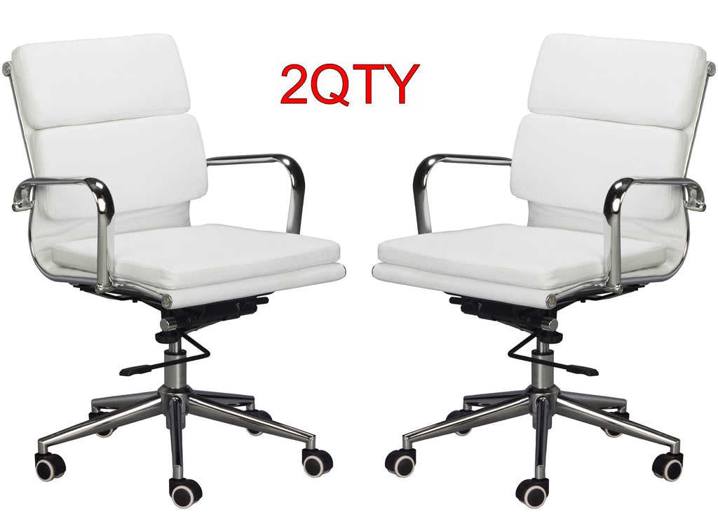 Classic Replica Medium Back Office Chair (Set of 2) - White Vegan Leather, thick high density foam, stabilizing bar swivel & deluxe tilting mechanism - US Office Elements