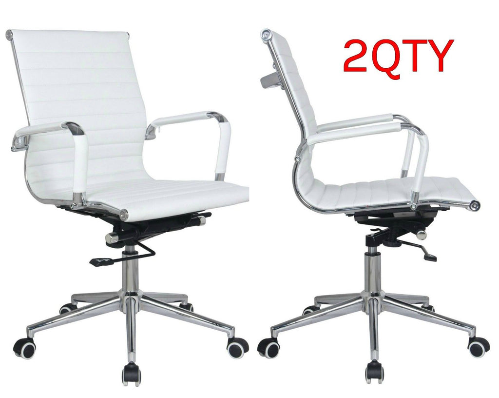 Set of 2 -Ribbed mid back chair in white PU leather. - US Office Elements