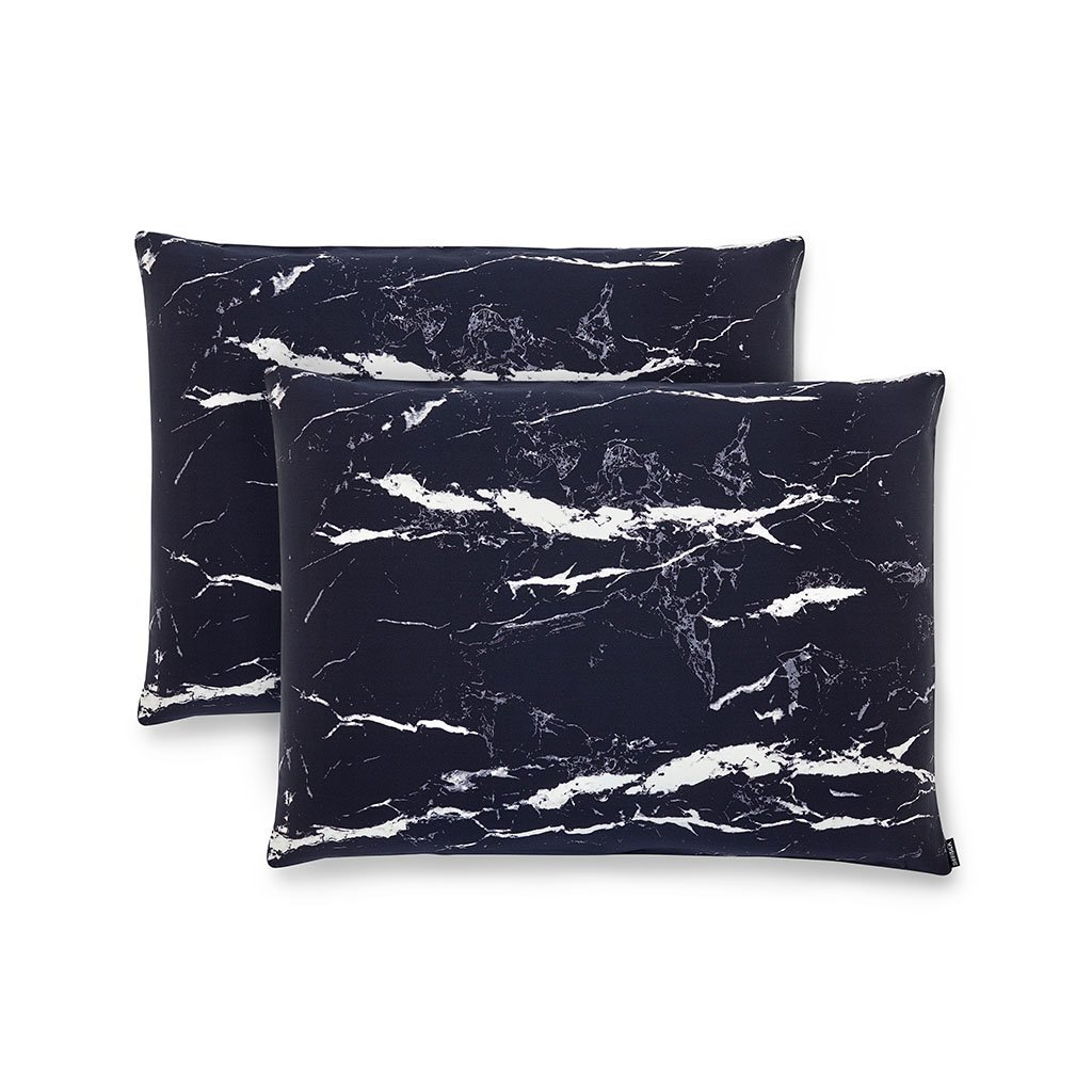 2 Pack Black Marble Silk Pillowcases