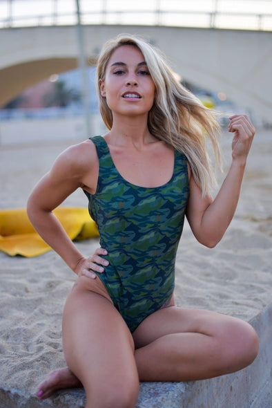 🔱Naked Warrior Camo 🔱Jungle Camo Open Back One Piece Women's Swimsuit | Sunga Life