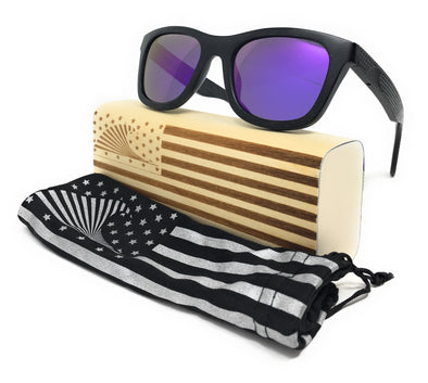 Patriot Shades Polarized & Floating Bamboo Wood American Flag Wayfarer Sunglasses| Sunga Life