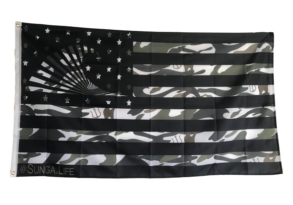 Sunga Life Camo Naked Warrior 1-Sided 3'x5' American Flag