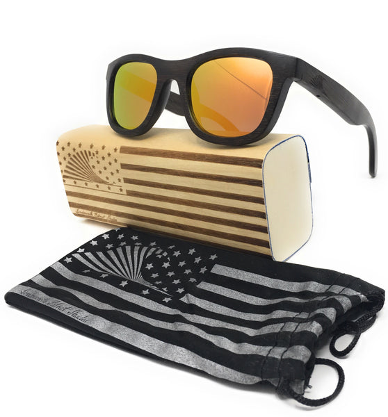 Polarized Mirrored Lens & Floating Bamboo Wayfarer Sunglasses | Loudmouth Patriot