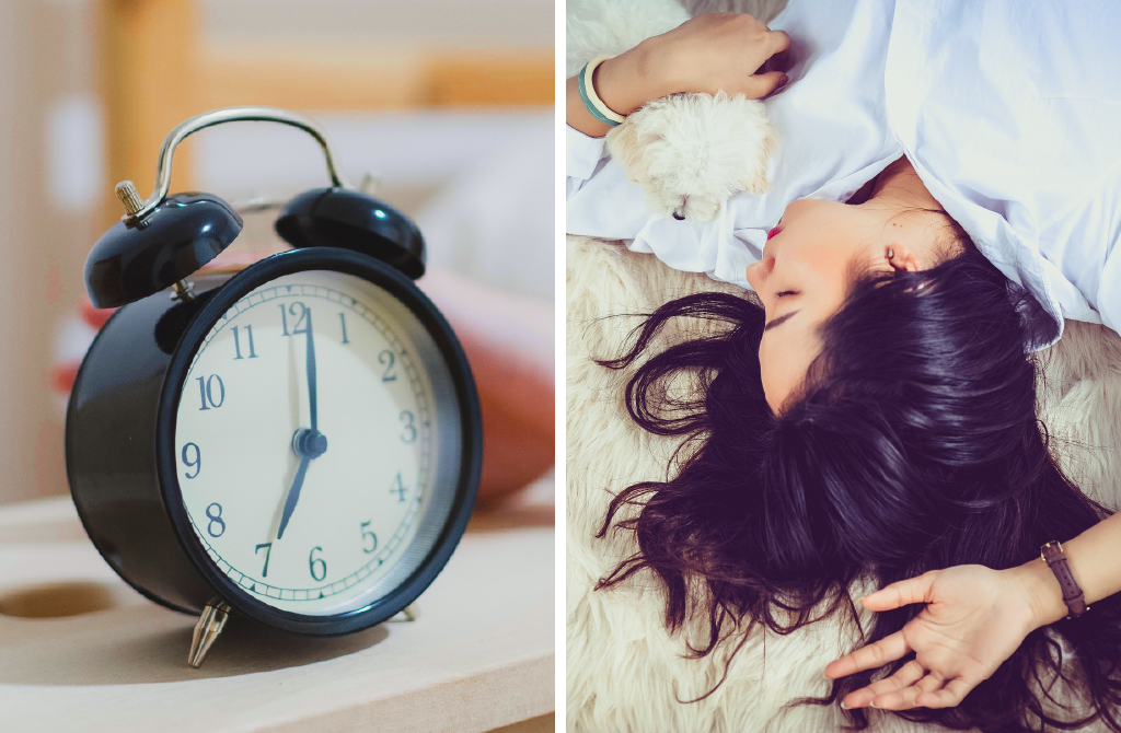 Image of woman sleeping and alarm clock