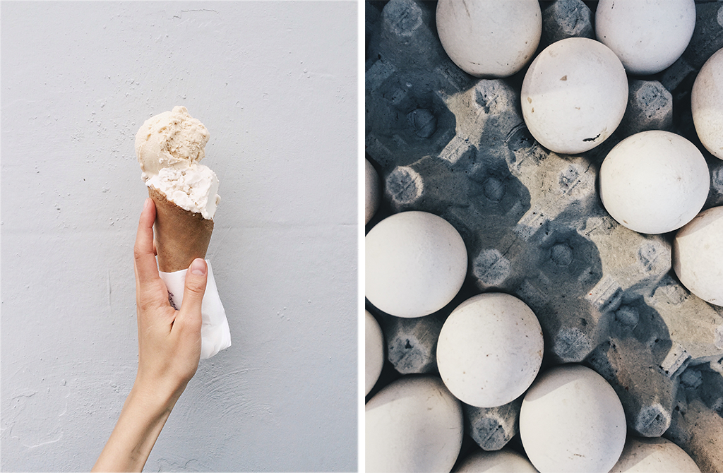 Image of woman holding ice cream and carton of eggs