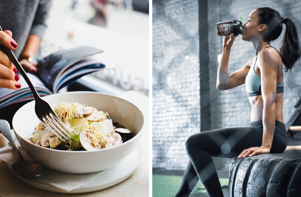 Image of woman drinking water at the gym and a salad bowl
