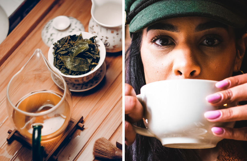 Image of green tea and woman drinking tea