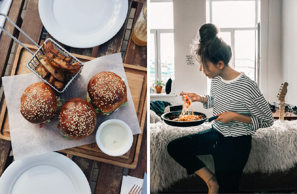 Image of delicious burgers and woman eating pasta