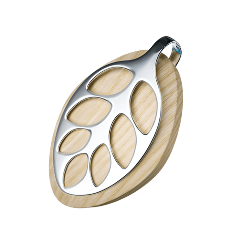 Bellabeat health tracker made of natural wood with silver clip. Beautiful Leaf design.