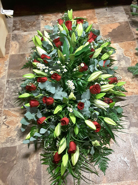 Red Roses and Lily Coffin Spray